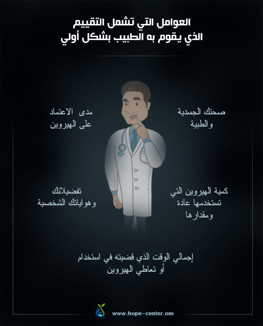 عوامل تقييم مدمن الهيروين من قبل الطبيب